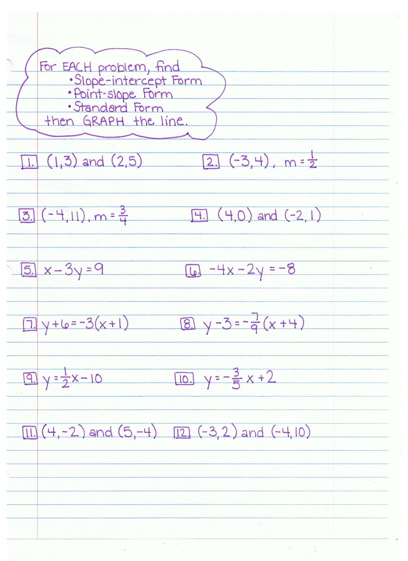 Algebra Worksheet New 112 Algebra Worksheets Point Slope Form